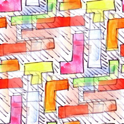 Quadro Mural listras coloridas fundo padrão sem emenda