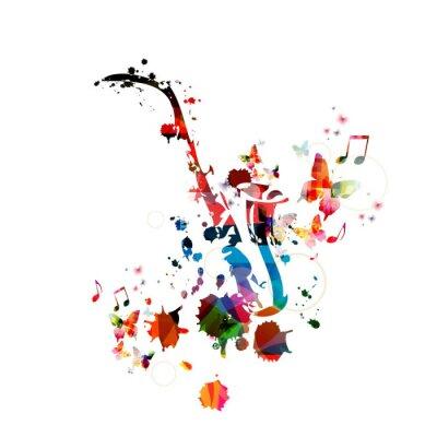 Quadro Música de fundo colorido com saxofone