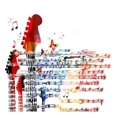 Quadro Música guitarra colorida de fundo. Vetor