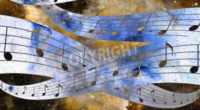 Quadro Música nota e espaço e estrelas com abstrtact cor fundo