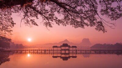 Quadro Myanmar (Birmânia) Hpa Um lago no nascer do sol. Asiático, marco, Viagem, destino