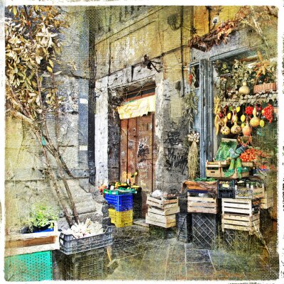 Quadro Napoli, Itália - ruas antigas com pequena loja, imagem artística