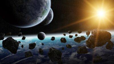 Quadro Nascer do sol sobre o grupo de planetas no espaço