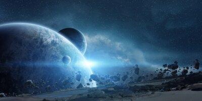 Quadro Nascer do sol sobre o planeta Terra no espaço