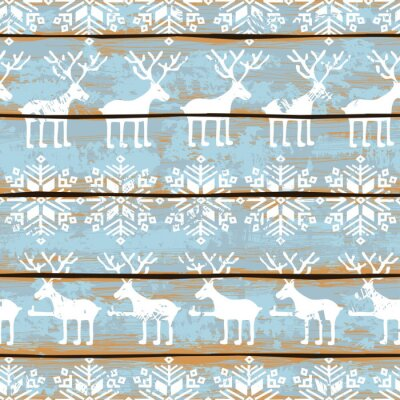 Quadro Natal padrão sem emenda com veados e flocos de neve