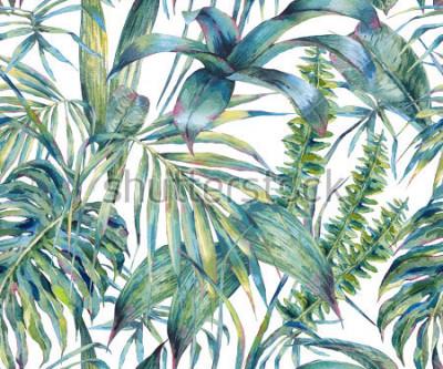 Quadro Natural deixa o padrão sem emenda aquarela exótica, verde folhas tropicais, samambaia, selva densa, mão pintada ilustração botânica de verão no fundo branco