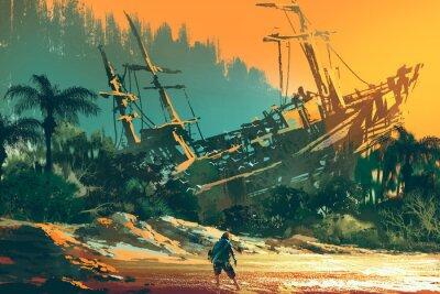 Quadro Náufrago, homem, ficar, ilha, praia, abandonado, bote, pôr do sol ...