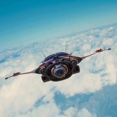 Quadro nave espacial no céu azul