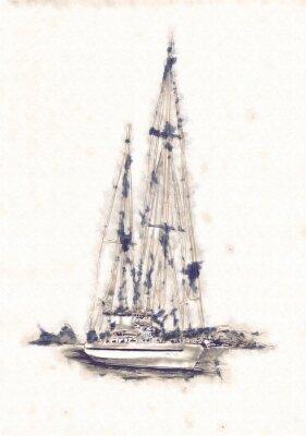 Quadro Navegue na ilustração da arte do mar ou oceano