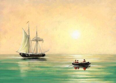 Quadro Navio e barco, paisagem do mar, pinturas digitais de óleo