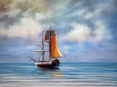 Quadro Navio, mar. Panorama. Óleo pinturas digitais.