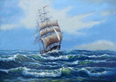 Quadro Navio, pinturas a óleo do mar paisagem, arte