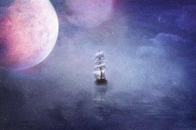 Quadro Navio, vastidão, universo, fundo, Ilustração