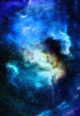Quadro Nebulosa, espaço cósmico e estrelas, fundo abstrato cósmico azul. Elementos desta imagem fornecida pela NASA.