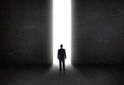 Quadro Negócio, Pessoa, olhar, parede, luz, túnel, abertura