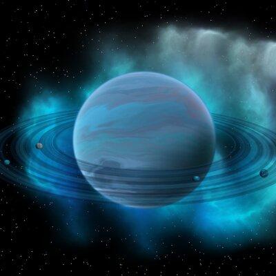 Quadro Neptune Planet - Neptune é o planeta oito em nosso sistema solar e tem anéis planetários e um grande ponto escuro indicando uma tempestade em sua superfície.