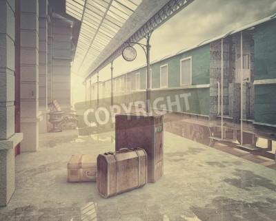 Quadro Nevoeiro, retro, estrada ferro, estação .Vintage, cor, estilo, 3D, conceito