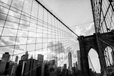 Quadro New York City, Brooklyn Bridge preto skyline e branco