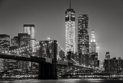 Quadro New York por noite. Brooklyn Bridge, Lower Manhattan - Black uma