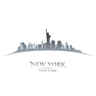 Quadro New York silhueta cidade fundo branco