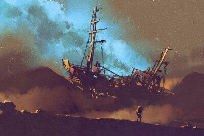 Quadro Noite, cena, abandonado, navio, deserto, stary, céu ...