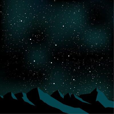 Quadro Noite céu estrelas, montanha paisagem, ilustração vetorial
