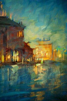 Quadro noite para Veneza, pintura de óleo sobre tela, ilustração