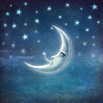 Quadro Noite, tempo, estrelas, lua, fundo