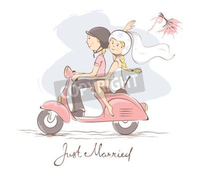 Quadro Noiva e noivo em uma scooter / Ilustração do vetor, cartão, a noiva joga o buquê