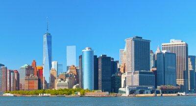 Quadro Nova York edifícios distrito financeiro de Wall Street Lower Manhattan em um belo dia de verão com céu azul