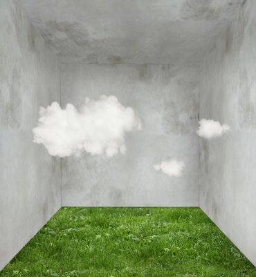 Quadro Nuvens e grama em um quarto