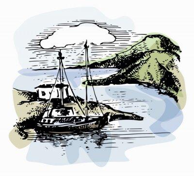 Quadro O barco nas ondas perto da costa. Ilustração do iate. Vista para a praia. Paisagem de aquarela. Ilustração do vetor
