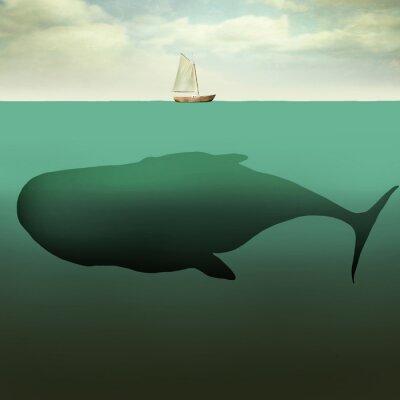 Quadro O barquinho ea baleia gigante