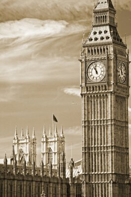 Quadro O Big Ben, a Casa do Parlamento e da Ponte de Westminster