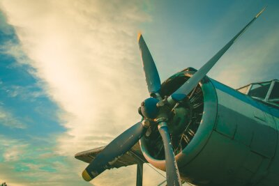 Quadro O cockpit do antigo avião. Aeronave abandonada