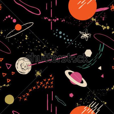 Quadro O padrão colorido sem costura com espaço, estrelas, galáxias, constelações. Entregue o fundo de sobreposição ao seu projeto. Têxtil, decoração do blogue, bandeira, cartaz, papel de envolvimen