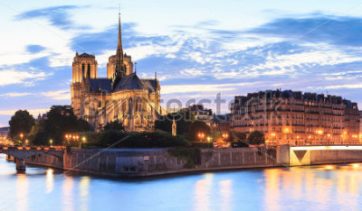 Quadro O panorama da ilha menciona com catedral Notre Dame de Paris em Paris, França.