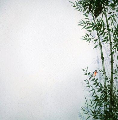 Quadro O passarinho em um bosque de bambu. A imagem em estilo japonês