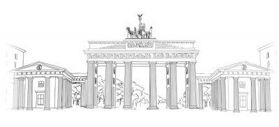 Quadro O portão de Brandemburgo. Símbolo do arco de Berlim. Mão, desenhado, lápis, esboço, vetorial, Ilustração, isolado, branca, fundo