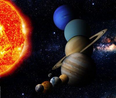 Quadro O Sol e nove planetas do nosso sistema de órbita