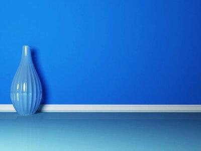 Quadro o vaso azul no quarto azul