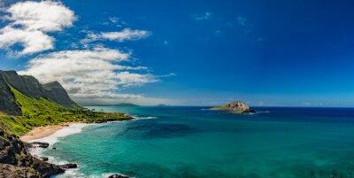 Quadro Oahu, leste, costa, vista, paisagem