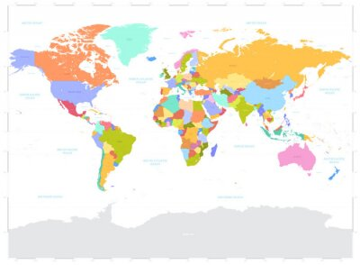 Quadro Oi Detalhe colorido Vector Mapa Mundi Político ilustração