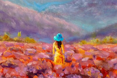 Quadro Oil Painting Beautiful Girl stands with her back in a lavender pink flower field - floral French Tuscan landscape