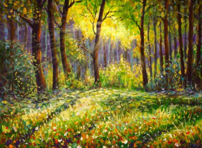 Quadro Oil painting on canvas modern impressionism Sunny forest landscape