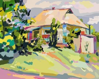 Quadro oil paintings of summer village