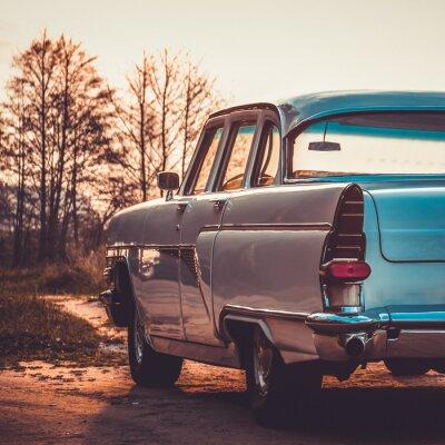 Quadro Old retro or vintage car back side. Vintage effect processing