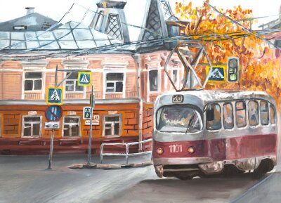 Quadro Old tram, oil paintings landscape, city. Fine art. Autimn in the city.
