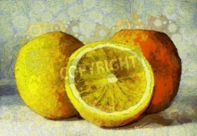 Quadro Óleo, pintura, laranjas, frutas, branca