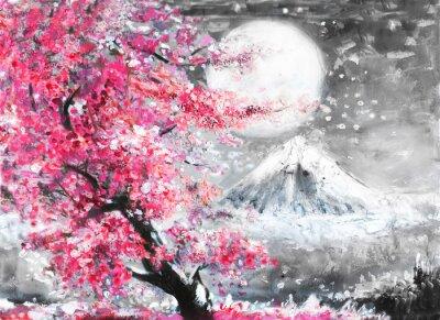 Quadro Óleo, pintura, paisagem, sakura, montanha, mão, desenhado ...